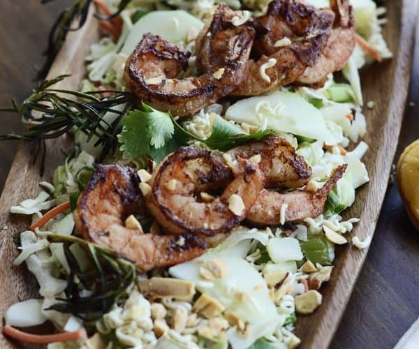 Asian Salad Recipe with Grilled Shrimp on Rosemary Skewers