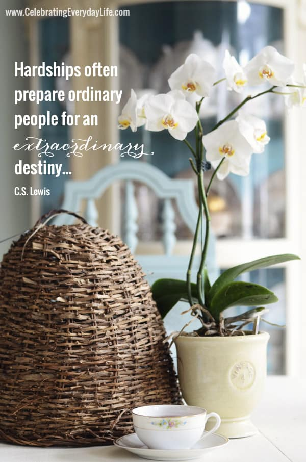 Hardships often prepare ordinary people for an extraordinary destiny, CS Lewis Quote, Inspirational Quote, Inspiring Quote