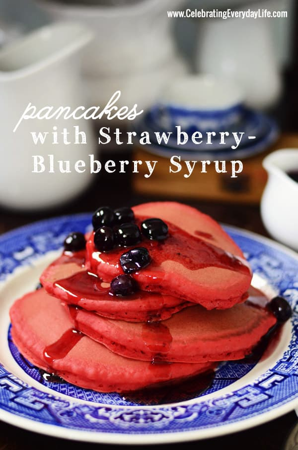 Red, White and Blue Pancakes, July 4th foods, Holiday Breakfast, Independence Day Breakfast