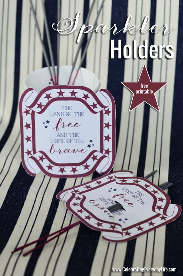 July 4th printable, 4th of July printable, Sparkler holder, Free holiday printable,