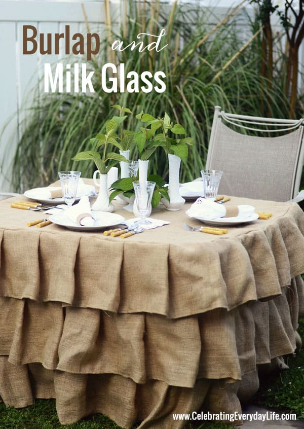 Burlap and Milk Glass table