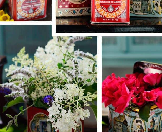 3 Easy Garden Bouquets in Vintage Tins