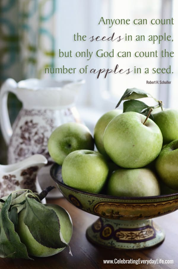 Anyone can count the seeds in an apple, but only God can count the number of apples in a seed, apple quote, inspiring quote