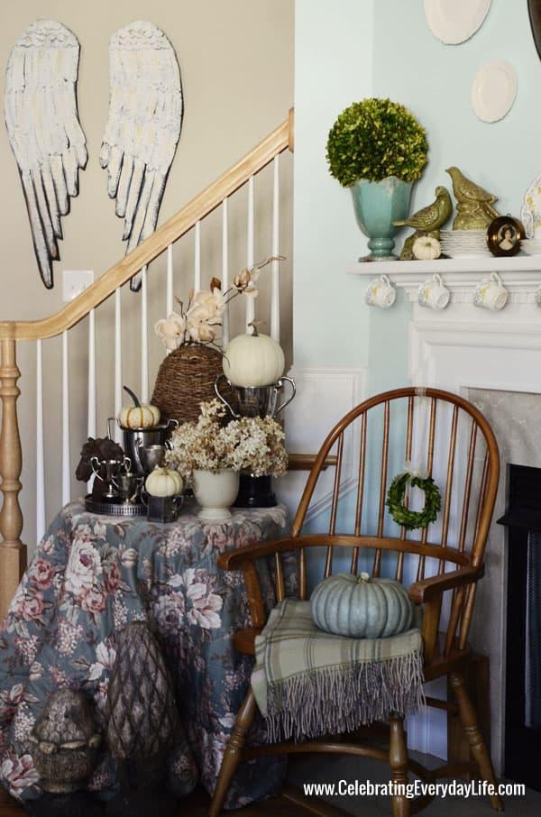 Fall Mantel, Autumn Mantel, Decorating for Fall, Decorating with Pumpkins, White Pumpkins, Blue Pumpkin, October Mantel, Celebrating Everyday Life with Jennifer Carroll