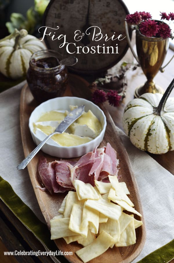 Fig and Brie Crostini, Fall Appetizer Recipe, Fall Entertaining Recipe, Celebrating Everyday Life with Jennifer Carroll