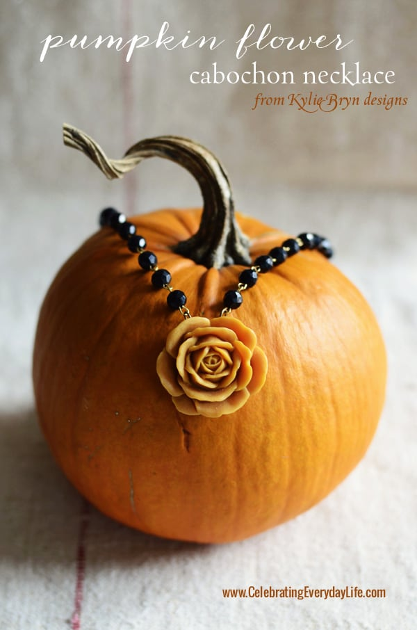 Pumpkin Flower Cabochon Necklace from Kylie Bryn Designs, Fall Jewelry, Celebrating Everyday Life with Jennifer Carroll
