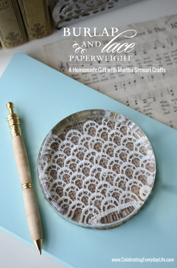 Burlap and Lace Paperweight, Martha Stewart Crafts, Homemade Gift Idea, Celebrating Everyday Life with Jennifer Carroll