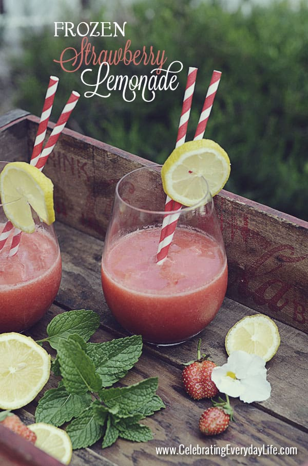 Frozen Strawberry Lemonade recipe, summer drink recipe, Celebrating Everyday Life with Jennifer Carroll