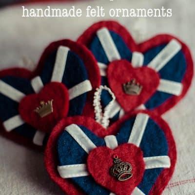 Royal Heart Union Jack inspired handmade felt ornament, Easy Christmas Craft