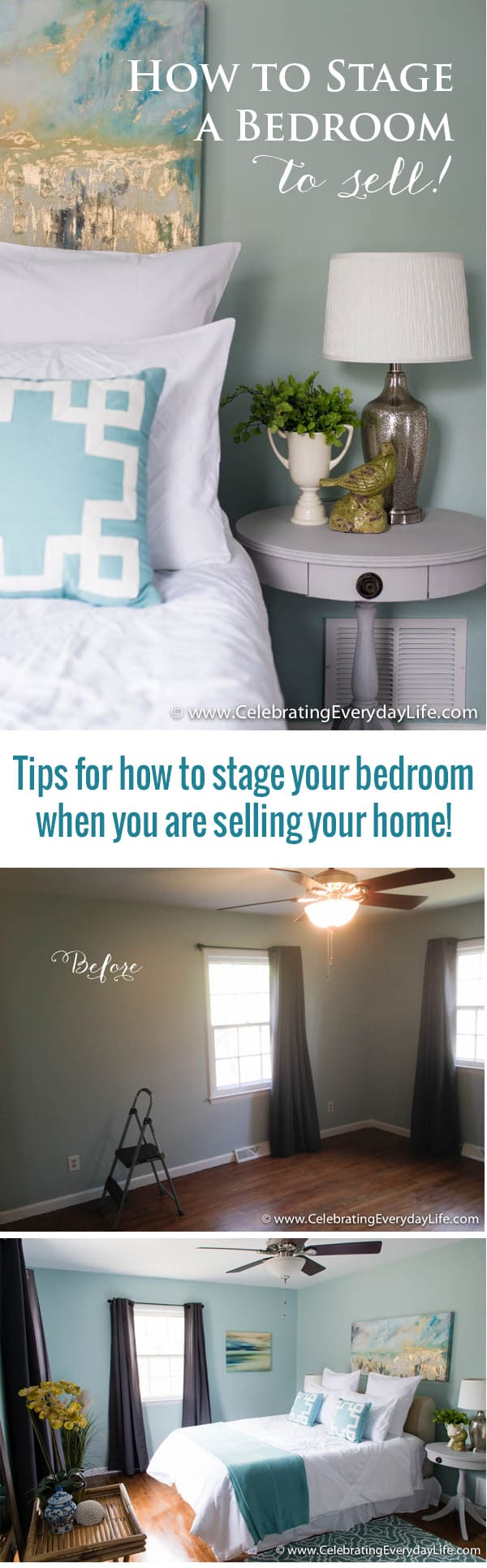Home Staging Before + After, Home Staging Ideas, How To Stage A Bedroom,
