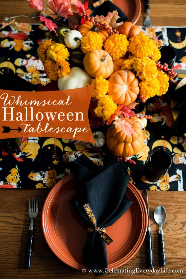 A whimsical Halloween Table, Sweet Halloween Table, Vintage Inspired Halloween Tablescape, Celebrating Everyday Life with Jennifer Carroll