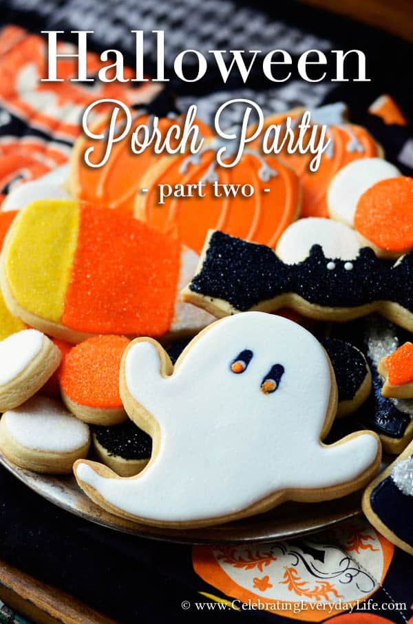 Halloween cookies, Halloween ghost cookie, Halloween Porch Party, Fun Halloween Decorating Ideas, Halloween Party Ideas, Celebrating Everyday Life with Jennifer Carroll