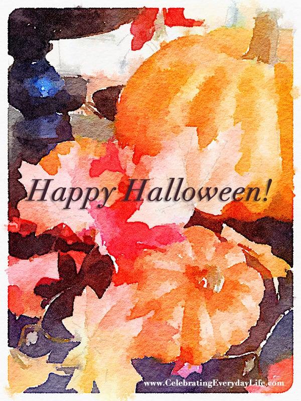 Happy Halloween Pumpkin Watercolor Printable Art, Pumpkin Watercolor Printable, Watercolor Art, Free Printable, Celebrating Everyday Life with Jennifer Carroll