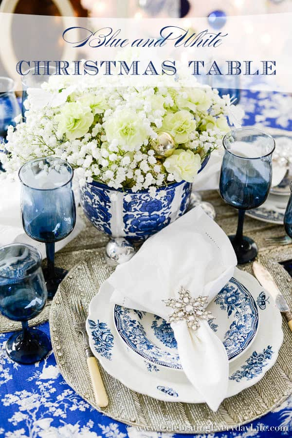 Blue & White Christmas Table
