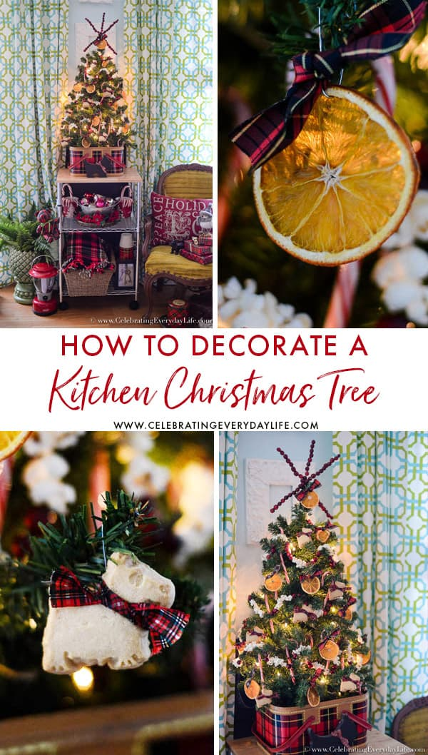 Easy tips for How to Decorate a Kitchen Christmas Tree. A wonderful way to add charm to your holiday kitchen!