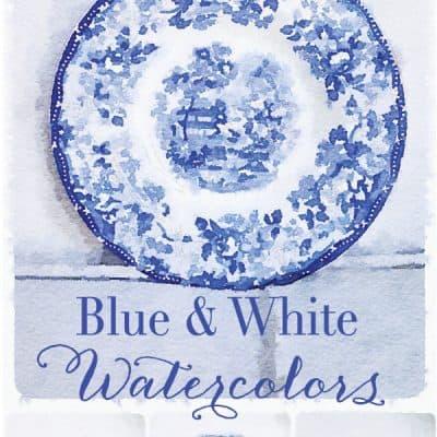 Free Printable Blue & White Watercolors – Set One