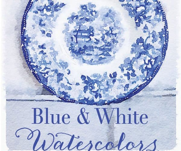 Free Printable Blue & White Watercolors – Set One
