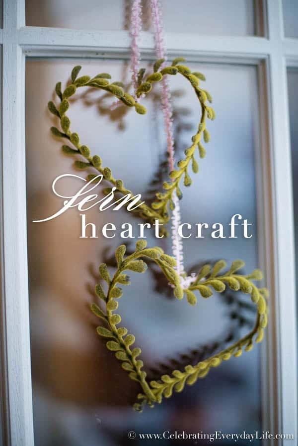 Faux Fern Heart Craft, Valentine DIY, Valentine Craft, Heart craft, make your own heart, Heart craft DIY, Shabby Chic heart decor, Shabby Chic heart DIY, Celebrating Everyday Life with Jennifer Carroll