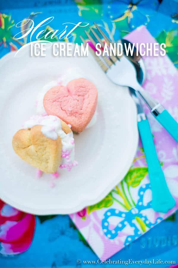 Heart Ice Cream Sandwiches, Easy Valentine Dessert, Cookie Dessert Ideas, Ice Cream Dessert Ideas, Celebrating Everyday Life with Jennifer Carroll