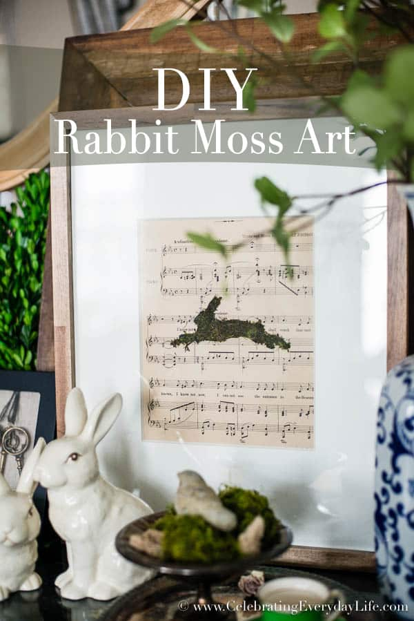 DIY Rabbit Moss Art, DIY Moss Art, DIY Easter Art, DIY Silhouette Art, Sheet Music Art, Silhouette craft, Vintage Inspired Art, Celebrating Everyday Life with Jennifer Carroll