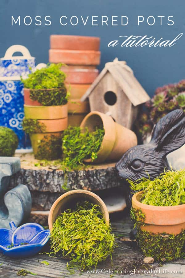 Moss covered terra cotta pots sitting on a rustic table with bits of blue and white dishes and a rabbit statue.