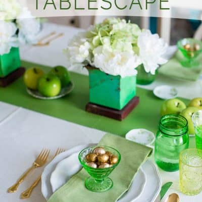 A Green & White St. Patrick's Day Tablescape