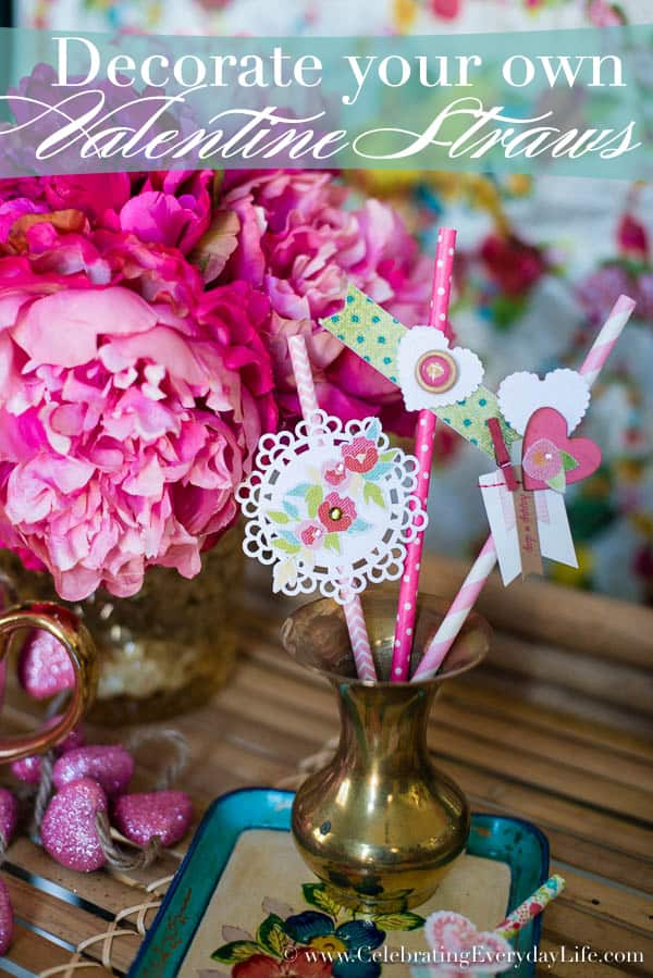 Decorate Your Own Valentine Straw Bouquet, Paper Straw Bouquet, Valentine Craft Ideas, Celebrating Everyday Life with Jennifer Carroll