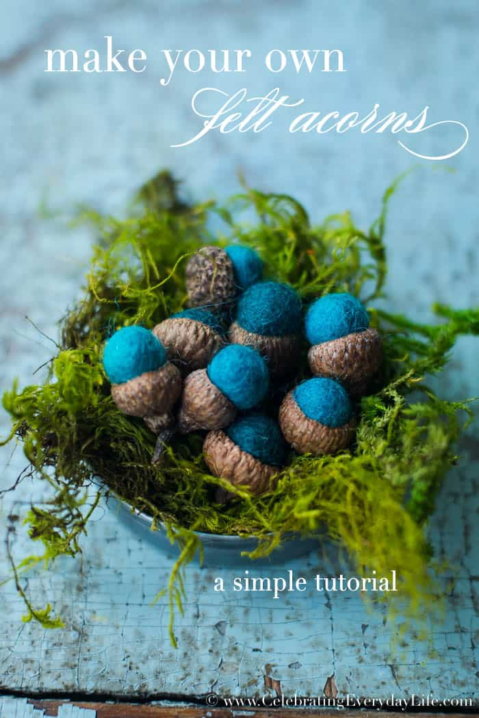 DIY Felt Acorn, Make your own felt acorn, Felt Acorn DIY, Easy fall crafts, simple fall craft, Turquoise blue acorns, handmade acorns, Celebrating Everyday Life with Jennifer Carroll