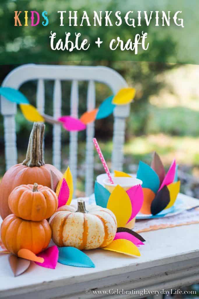 Kids Thanksgiving Table + Craft Ideas