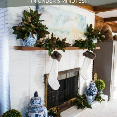 5 minute Easy Christmas Mantel Decor