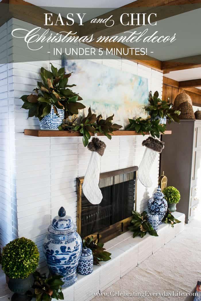 5 minute Easy Christmas Mantel Decor | Celebrating Everyday Life with Jennifer Carroll | www.CelebratingEverydayLife.com