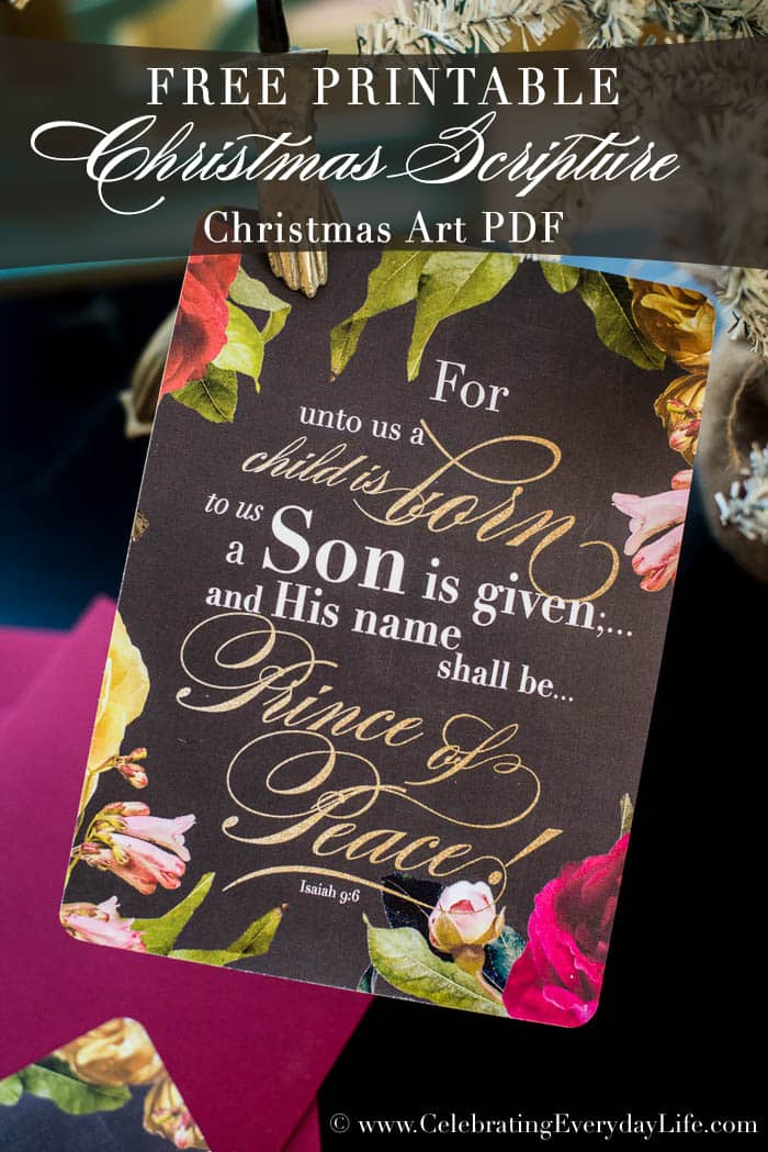 Free Christmas Scripture Printable PDF | Celebrating Everyday Life with Jennifer Carroll | www.CelebratingEverydayLife.com