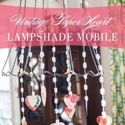 Vintage Paper Heart Lampshade Mobile