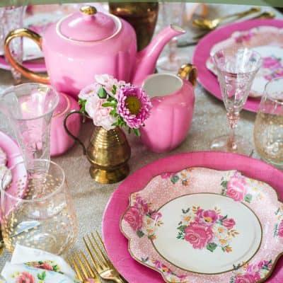 Vintage Valentine's Day Pink Tablescape