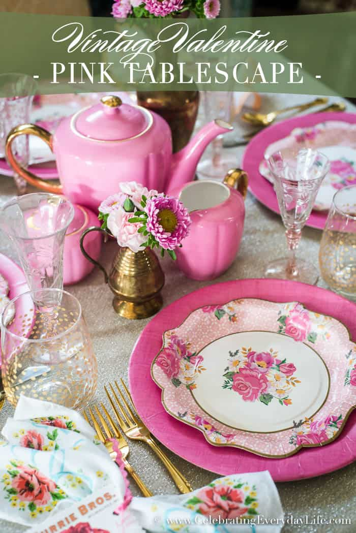 A romantic Vintage Valentine Pink Tablescape just in time for Valentine's Day entertaining - best of all, created with Paper Plates! Pretty and budget friendly entertaining   Celebrating Everyday Life with Jennifer Carroll   www.CelebratingEverydayLife.com