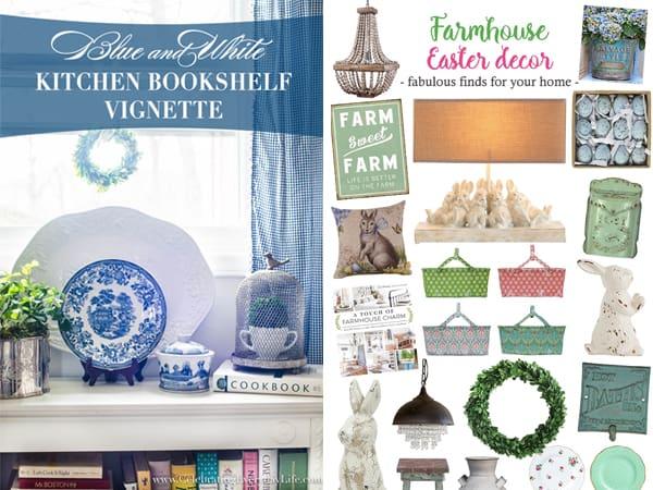 Blue and White Kitchen Bookshelf Decor plus Farmhouse Easter Decor for your home