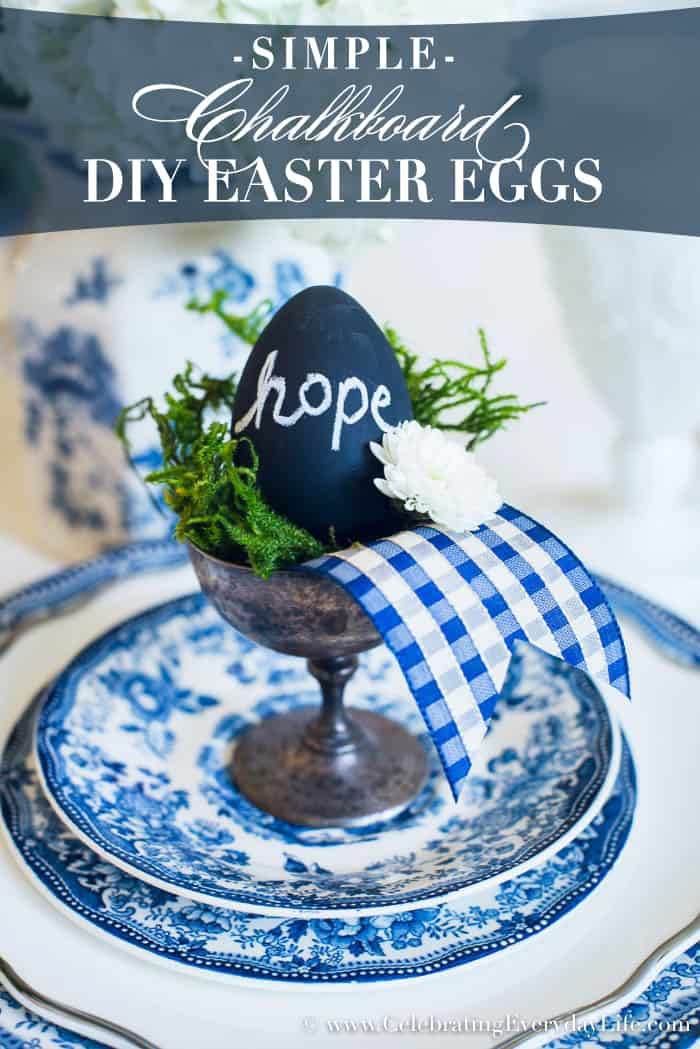 Easy DIY Chalkboard Easter Eggs are a simple Easter Craft to make! They also double as inspiring Easter decor, placecards, and gifts!