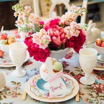 Easy Easter Tablescape with DIY Bunny Placecards + a Giveaway