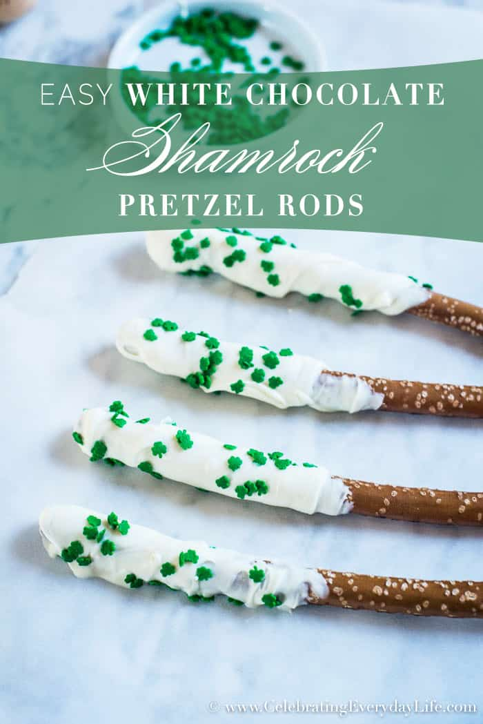 Make these Easy White Chocolate Shamrock Pretzel Rods for Dessert or Hostess Gifts | CelebratingEverydayLife.com