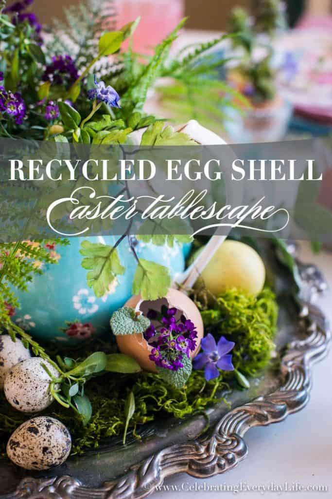 Egg Shell Easter Tablescape