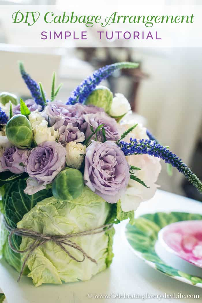 DIY Easter Cabbage Arrangement, Easy Easter Centerpiece