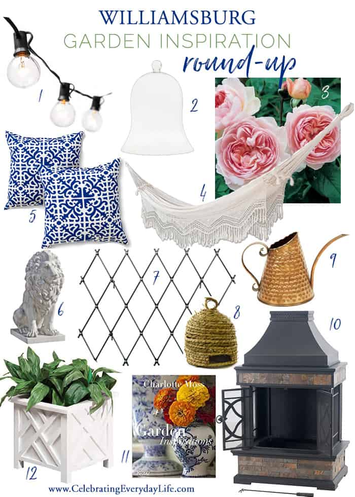 12 Ways to Easily add the charm of a Williamsburg Garden to your home this season with these classic garden decor finds!