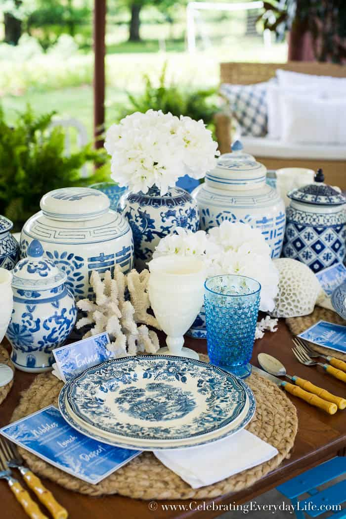 Al Fresco Luncheon In Blue And White, Summer Blue & White Tablescape, Blue & White with Coral, Nautical Blue & White table