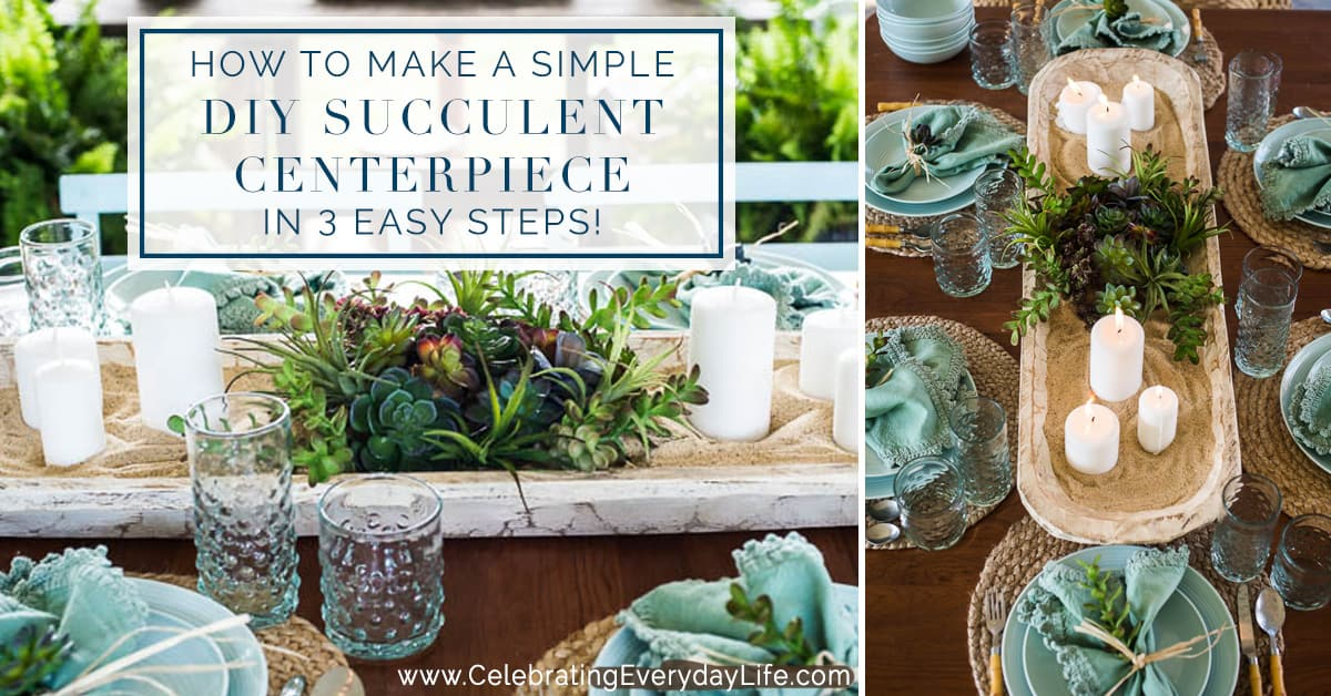 How To Make A Simple DIY Succulent Centerpiece In 3 Easy Steps video tutorial. I'll show you how to make a magazine worthy Succulent centerpiece that looks gorgeous but is super easy! It's a relaxed summer entertaining idea at its best!