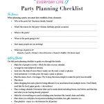 Celebrating Everyday Life Party Planning Checklist