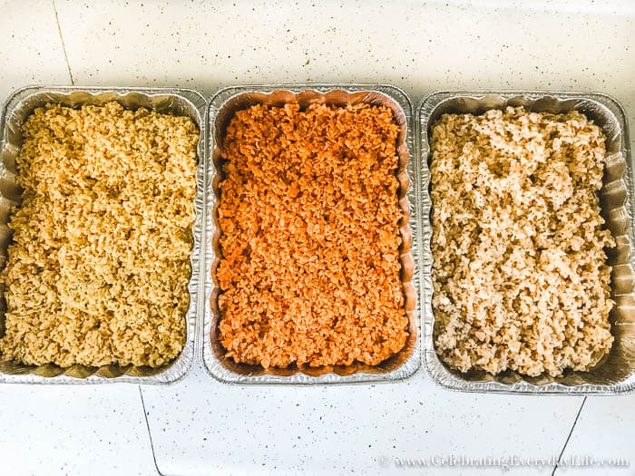 Need a quick treat for Halloween? Check out how to make last-minute candy corn rice krispie treats now!