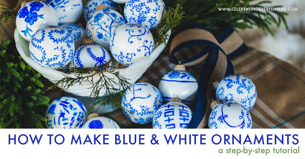 Create beautiful and budget-friendly Christmas ornaments with this How to Make Unique Blue & White Chinoiserie Ornaments tutorial!