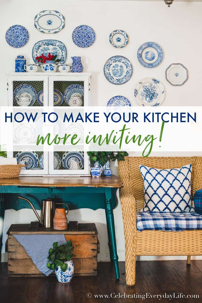 Update your kitchen on a budget and tips for How to make your kitchen more inviting from Celebrating Everyday Life with Jennifer Carroll