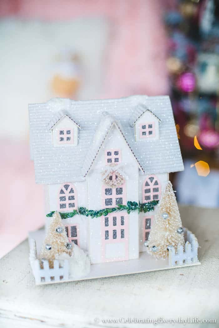 How to Make Your Shabby Chic Christmas Tree Spectacular, Decorating with Paper Christmas houses