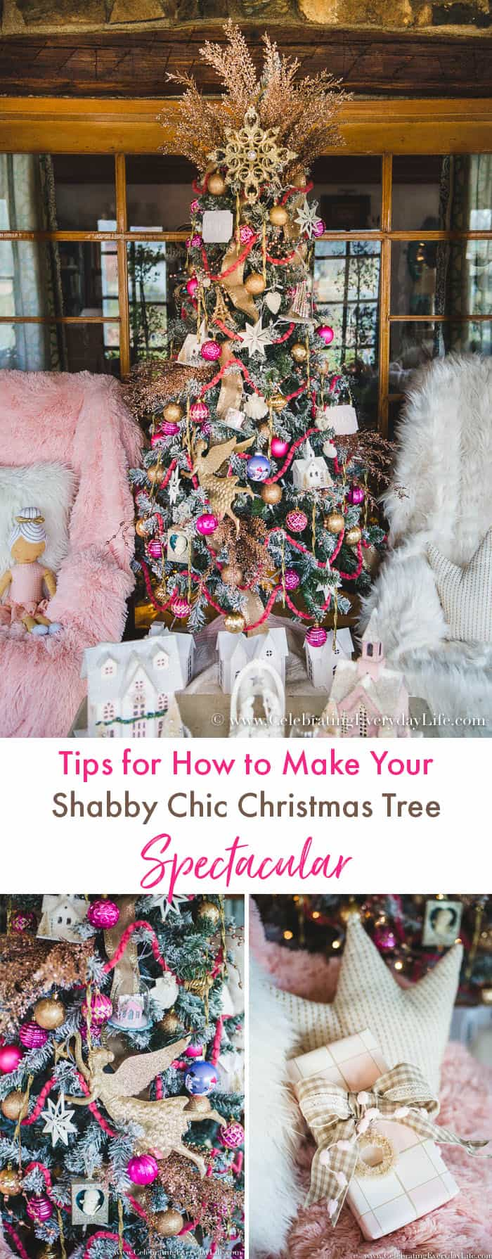 How to Make Your Pink & Gold Shabby Chic Christmas Tree Spectacular on a budget. Tips for mixing ornaments old and new, as well as store-bought & homemade!